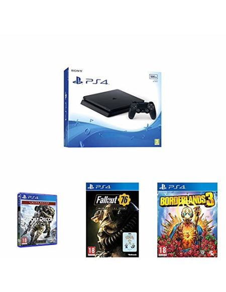 PS4 500 Go noire + Borderlands 3 + Ghost Recon Breakpoint + Fallout 76