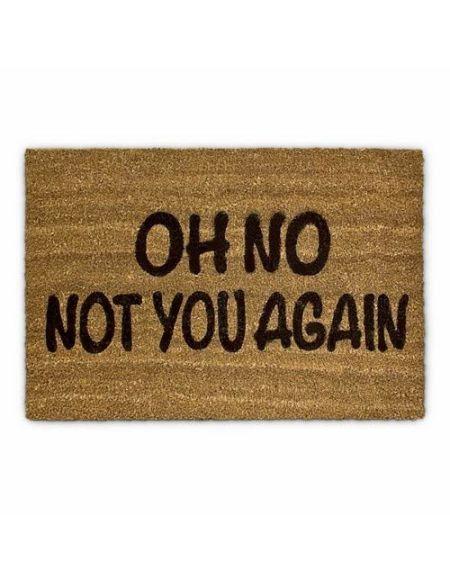 Relaxdays 10017727 Paillasson fibre de coco Oh No Not You again Tapis de sol porte entrée accueil Fibre de coco 60 x 40 cm essuie-pieds natte de plancher antidérapant PVC caoutchouc marron