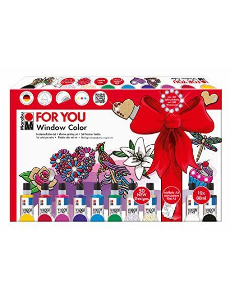 MARABU Window Color Fun & Fancy for You 50 modèles/ 2 Films A3 et 10 x 80ml