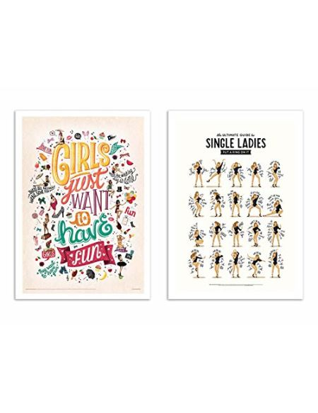 WALL EDITIONS 2 Art-Posters 30 x 40 cm - Single Ladies, Girls Wanna Have Fun - Nour Tohme - Format :
