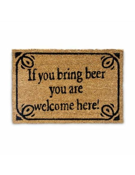 """Relaxdays 10019010 Paillasson en fibres de coco inscription anglais """"si tu amènes une bière tu es bienvenu"""" tapis de sol Lxl: 60 x 40 cm natte entrée essuie-pieds tapis de plancher antidérapant PVC Marron"""
