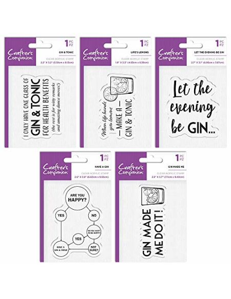 Crafter's Companion insolite Acrylique Tampon Gin Bundle, différents