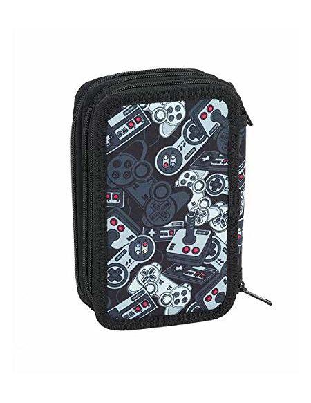 SAFTA Welcome Gamers Black Officiel Trousse Scolaire avec 36 utiles, 125 x 55 x 195 mm