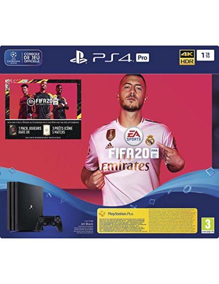Sony PlayStation 4 Pro 1 To + FIFA 20 + PS Plus 14 jours, 1 Manette sans fil DUALSHOCK 4 V2, Châssis G, Noir (Jet Black)