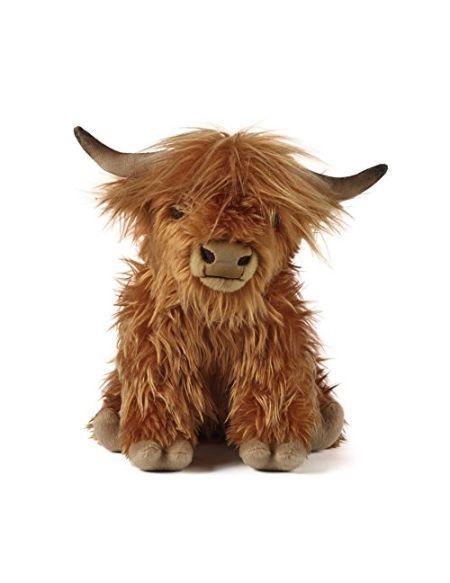 Living Nature- Soft Toy Jouet Grande Vache Highland en Peluche avec Son (30 cm), AN341