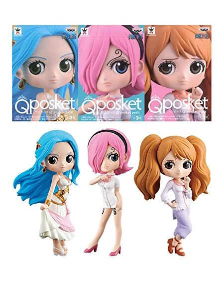 Banpresto 80275 - One Piece Qposket Set of 3 - Nefeltari Vivi, Vinsmoke Reiju, Charlotte Pudding - 7cm