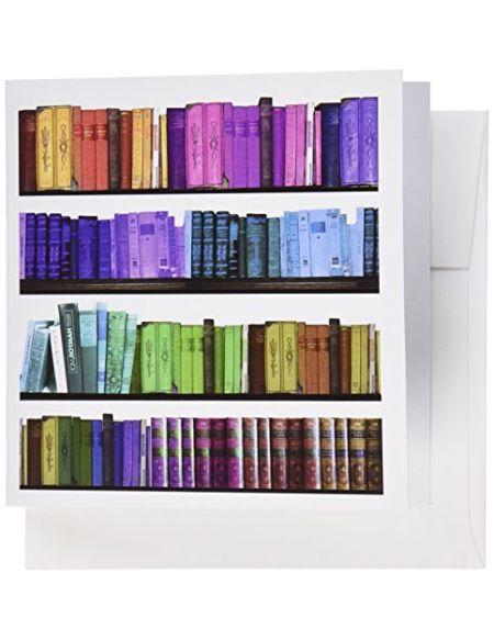"""3drose GC 112957_ 16x 15,2cm""""Colorful étagère à livres–Rainbow Bibliothèque Cubes–Livre de lecture Bibliothèque de geek Nerd–Bibliothécaire Auteur"""" carte de voeux (lot de 6)"""