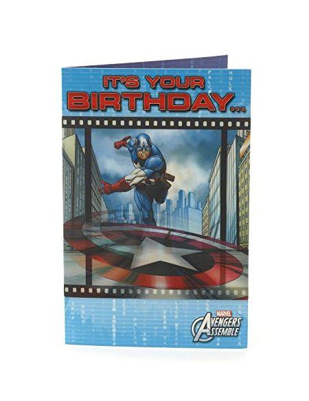 Carlton 464673–0-1fantaisie 3d lenticulaire Marvel Avengers Captain America carte d'anniversaire