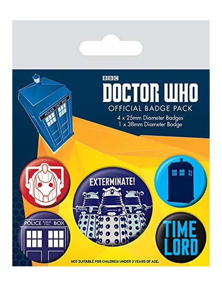 Pyramid International Doctor Who Exterminate Badge, Multicolore, 10 x 12.5 x 1.3 cm