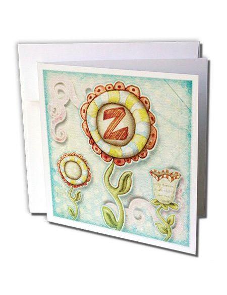 """3drose GC 102803_ 16x 15,2cm""""Cute Fleurs insolite Monogramme Lettre Z"""" carte de voeux (lot de 6)"""