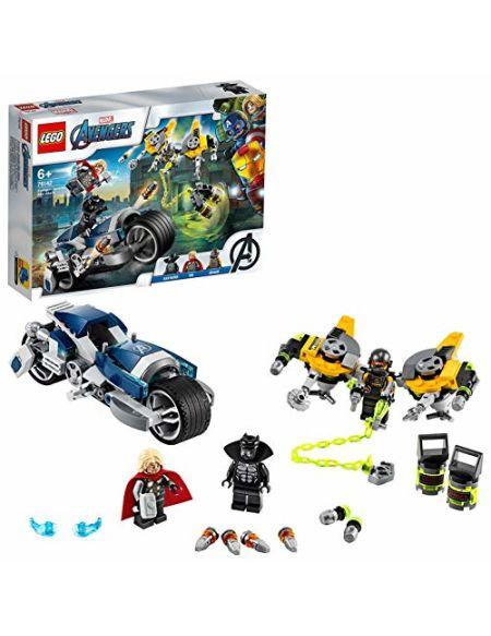 LEGO 76142 Marvel L'attaque du Speeder Bike des Avengers, Set de jeu, figurines de Black Panther et de Thor