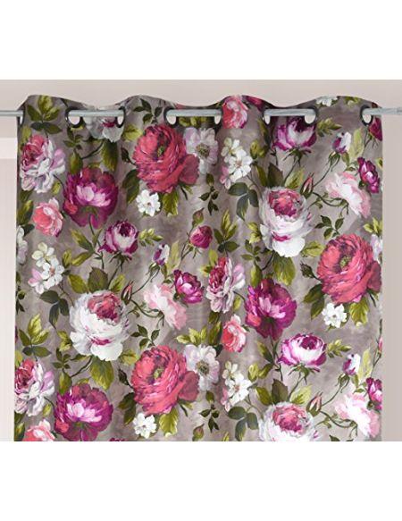 Linder 0669/79/49877/377FR/150x260 Fantaisie Rideau Impression Fleur Polyester Multicolore 150 x 260 cm
