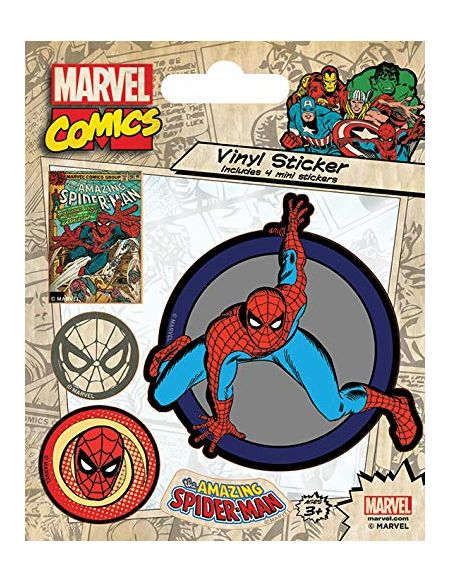 Pyramid International Marvel Comics (Spider-Man Retro) Stickers muraux en Vinyle, Papier, Multicolore, 10 x 12.5 x 1.3 cm