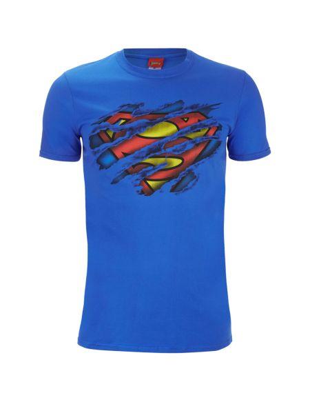 T-Shirt Homme DC Comics Logo Superman Torn - Bleu Roi - S - Bleu