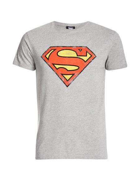 T-Shirt Homme DC Comics Logo Superman Effet Usé - Gris - M - Gris