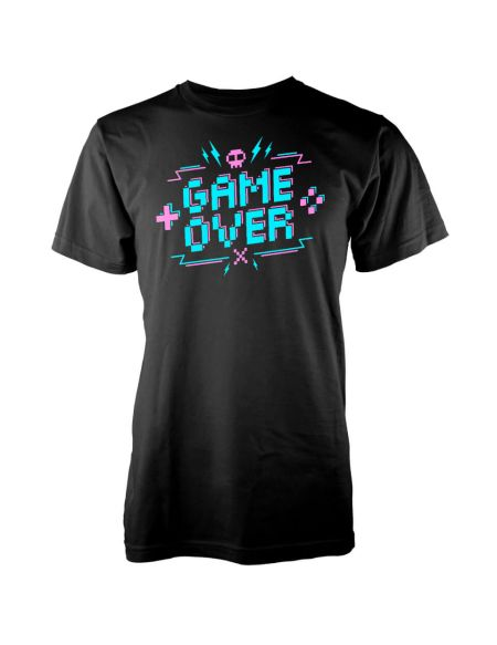T-Shirt Homme Game Over Pixel Crédits - Noir - S - Noir