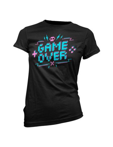 T-Shirt Femme Game Over Pixel Credits - Noir - S - Noir