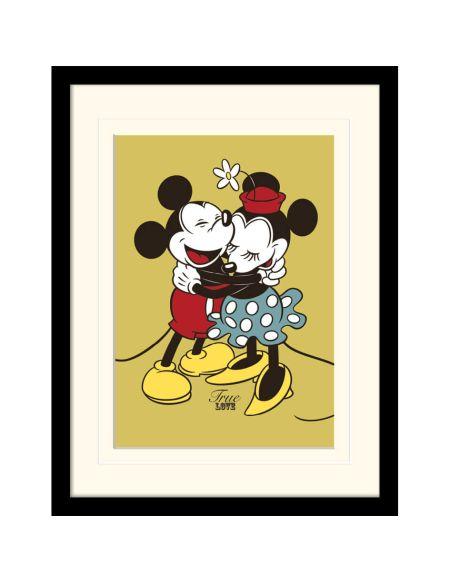 Impression Encadrée Mickey et Minnie Mouse Amour Toujours - 30 cm x 40 cm