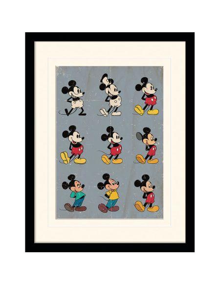 Impression Encadrée Évolution de Mickey Mouse - 30 cm x 40 cm
