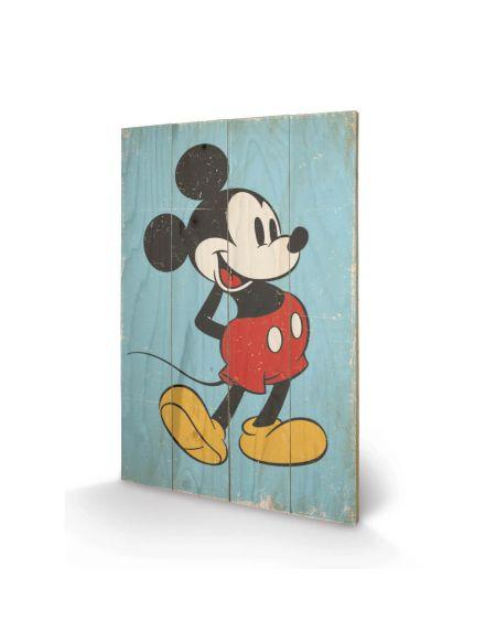 Affiche en Bois Rétro Mickey Mouse Disney 40 x 39 cm