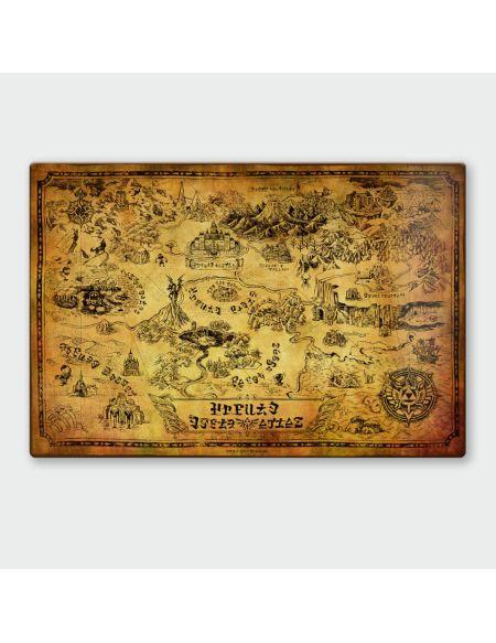 Affiche en Métal Vernis Nintendo Legend of Zelda Carte Chromalux