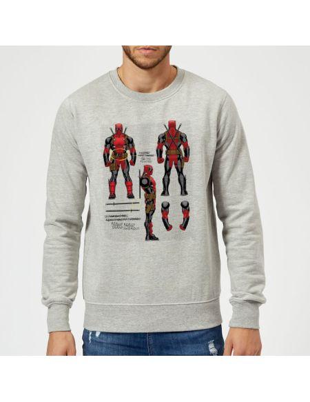 Sweat Homme Figurine Deadpool Plans Marvel - Gris - S - Gris