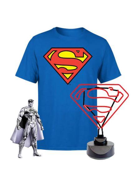Lot Superman - Lampe Néon, T-Shirt et Figurine - S