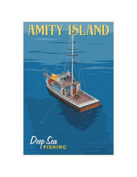 Affiche Les Dents de la Mer Deep Sea Fishing par Steve Thomas - Édition Limitée 33 cm x 46 cm - Exclusivité SDCC