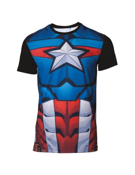 Marvel Captain America Men's Sublimated T-Shirt - Black - M - Noir