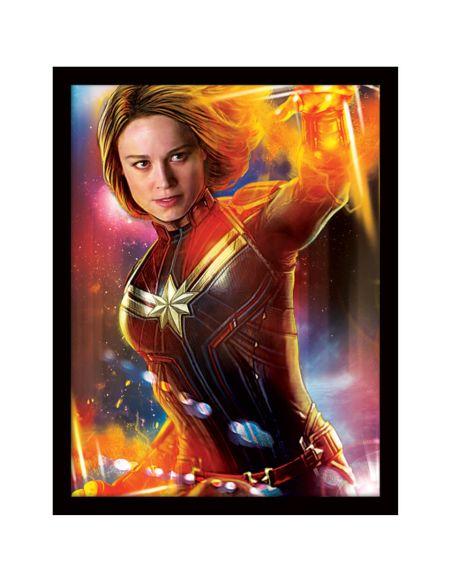 Captain Marvel (Glow) Framed 30 x 40cm Print