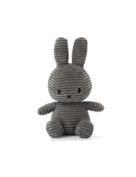 Peluche Miffy lapin velours côtelé 24 cm Gris