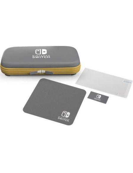 Coque semi-rigide Gris et Jaune plus Film de protection et Chiffon de nettoyage pour Nintendo Switch Lite