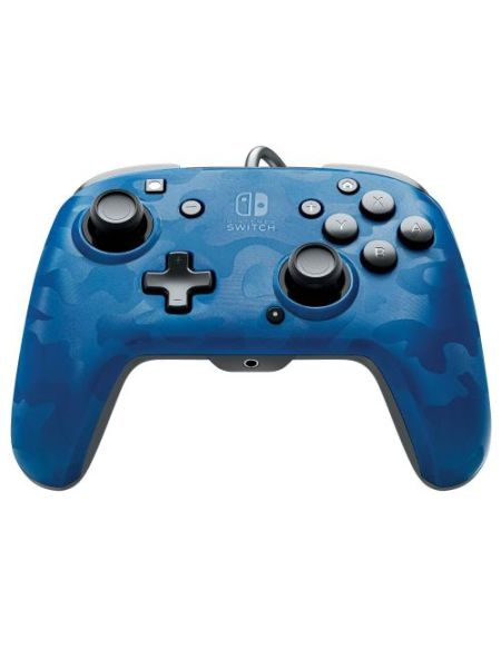 Manette Nintendo Switch filaire PDP Faceoff Deluxe+ Audio Camouflage Bleu