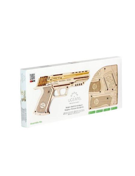 Puzzle 3D Ugears Pistolet Wolf 01