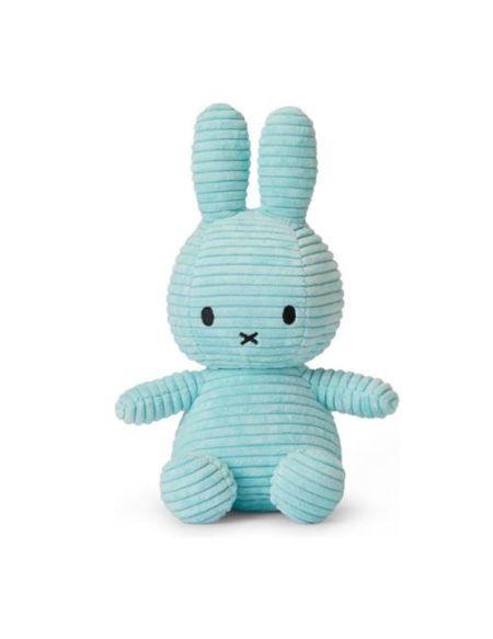Peluche Miffy lapin velours côtelé 24 cm Bleu