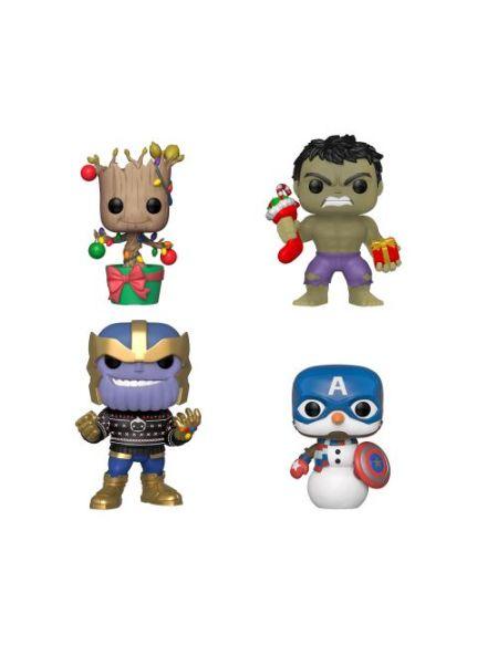 Pack de 4 Figurines Funko Pop Marvel Holiday Groot Hulk Thanos Captain America Exclusivité Fnac