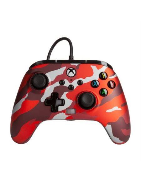 Manette filaire améliorée PowerA pour Xbox Séries X/S Camouflage Rouge Métallique