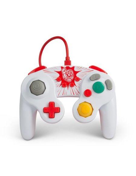 Manette filaire Power A GameCube Edition Mario pour Nintendo Switch Blanc et rouge