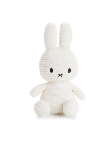 Peluche Miffy lapin velours côtelé 24 cm Blanc
