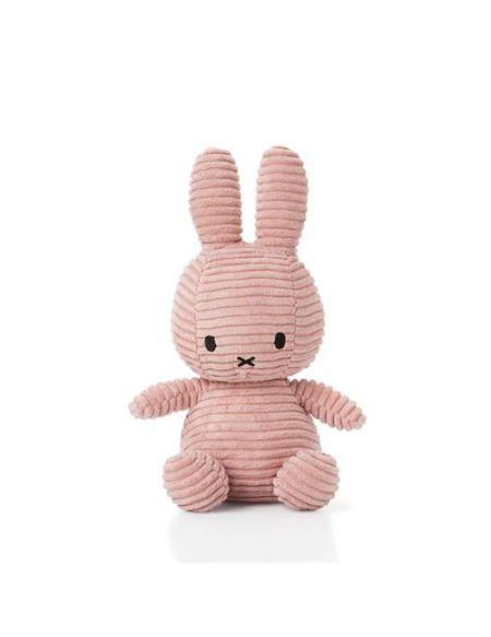 Peluche Miffy lapin velours côtelé 24 cm Rose