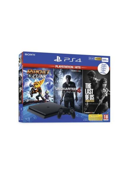 Pack Sony PS4 Slim 500 Go Noir + The Last of Us + Ratchet & Clank + Uncharted 4