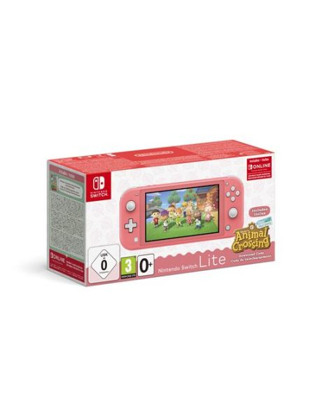 Pack Console Nintendo Switch Lite Corail + Animal Crossing : New Horizon + 3 mois d'abonnement Nintendo Switch Online