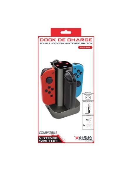 Base de charge Alpha Omega Players pour 4 Joy-Con Nintendo Switch Noir