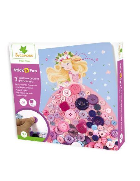 Jeu créatif Stick N Fun tableaux boutons princesses 250 pièces