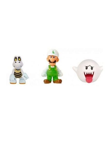 Pack de 3 figurines World of Nintendo Microland Luigi de Feu, Skelex et Boo 2.5 cm