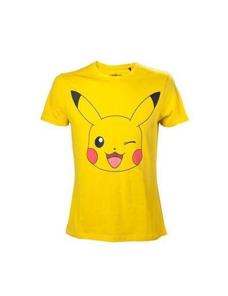 T-Shirt Pokémon Pikachu Clin d'oeil Homme Taille L Jaune