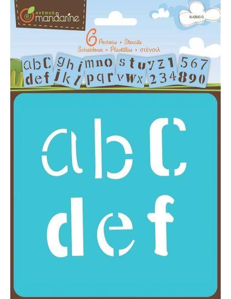 6 pochoirs Alphabet Fantaisie