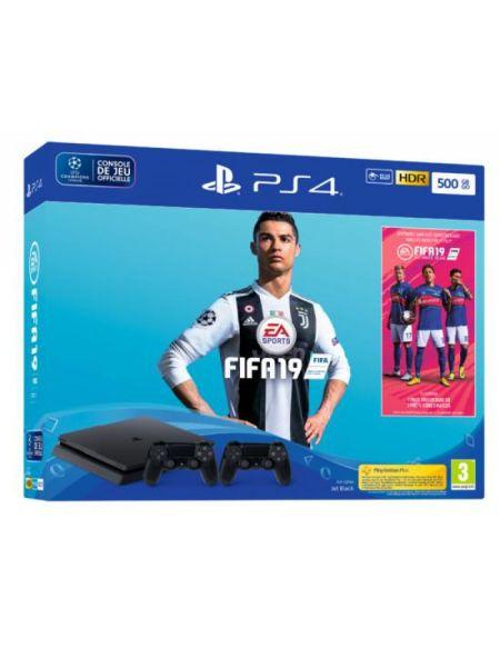 Pack Ps4 Slim 500 Go Noire + FIFA 19 + 2nd Ds4 + PS+ 14 jours