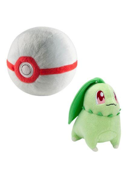 Peluche - Pokémon - Pack Pokéball + Germignon - Exclusif Micromania