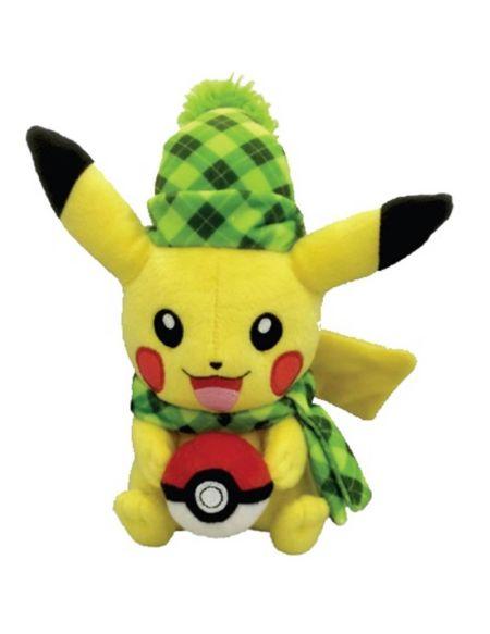 Peluche - Pokémon - Pikachu avec bonnet vert
